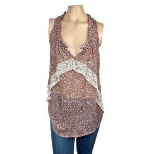 Lily White Sheer Floral Lace Tank Small